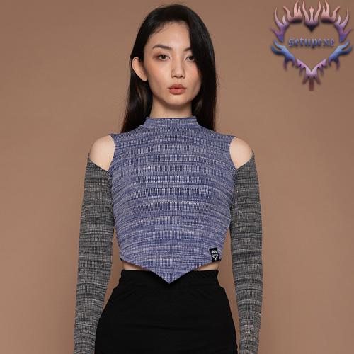 【SETUP-EXE】Shoulder slit T - blue