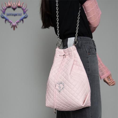 【SETUP-EXE】3-way quilting bucket Bag - baby pink