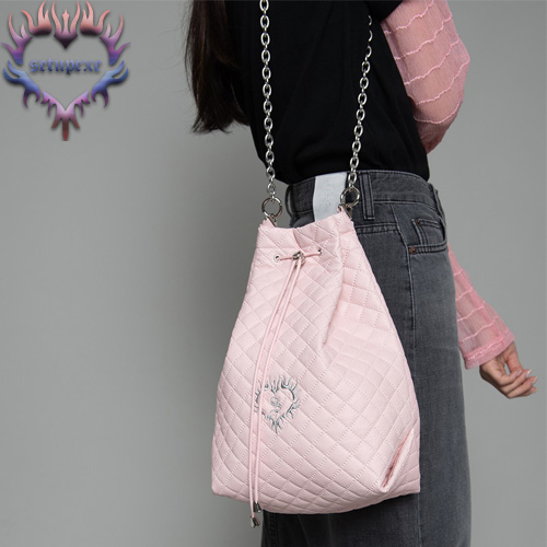 【SETUP-EXE】3-way quilting bucket Bag - baby pink