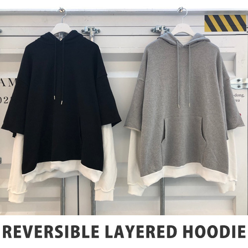 [UNISEX] REVERSIBLE LAYERED HOODIE (2color)